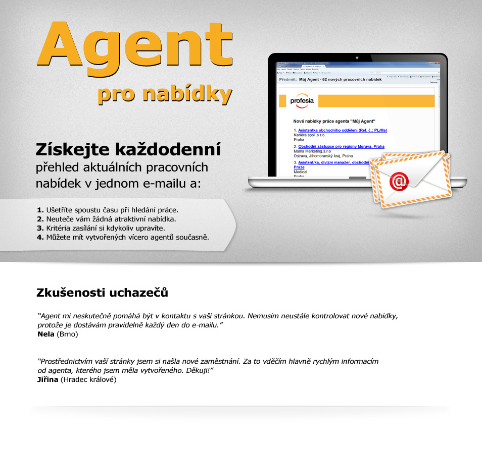 Agent pro nabídky - získejte aktuální přehled pracovních nabídek